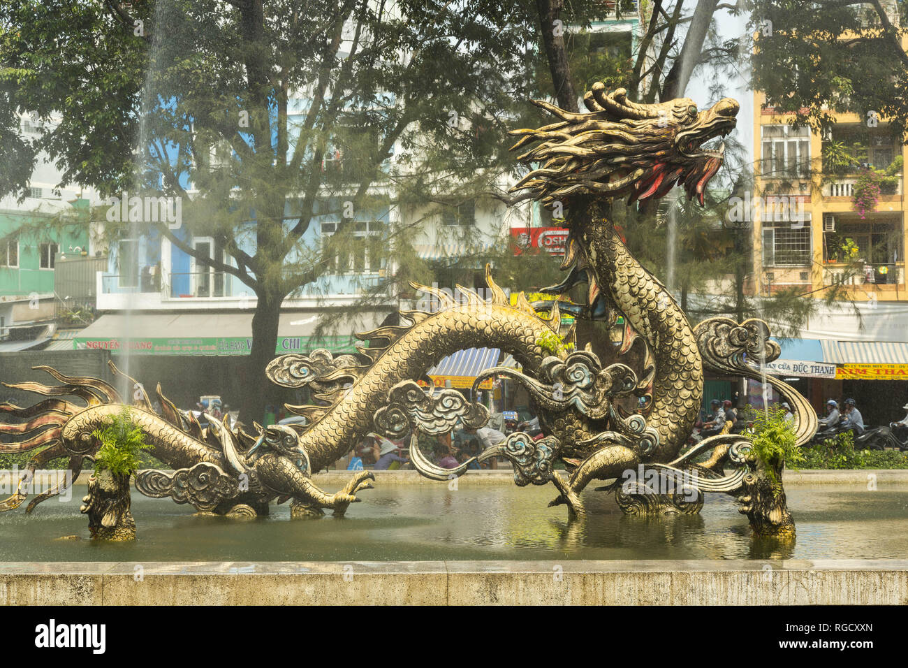 Sculpture of the dragon in Chinatown in Ho Chi Minh in Vietnam - Stock Image