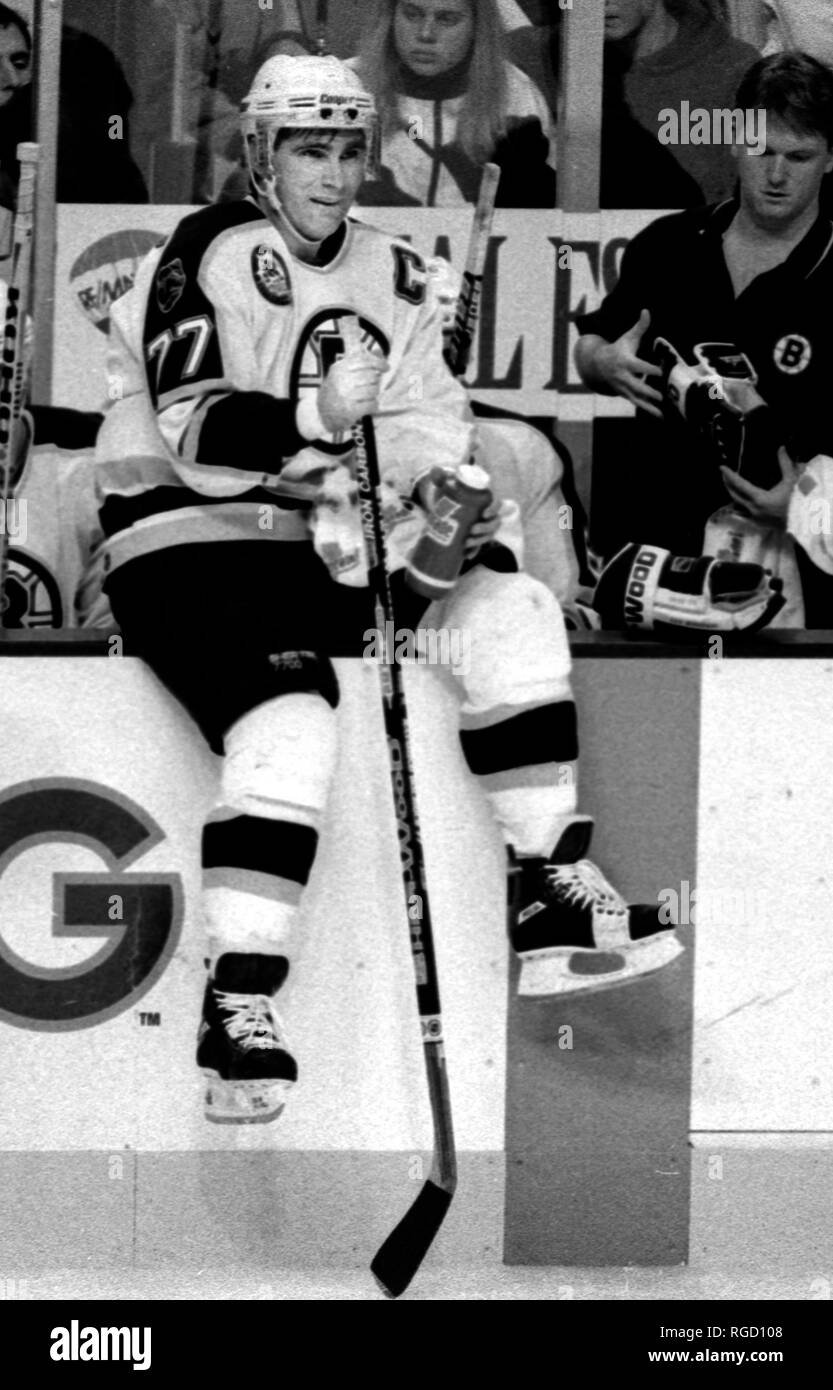 Boston Bruins Ray Bourque during a break in the action against the Detroit Red Wings at the Boston Garden in Boston Ma USA Nov. 2 ,1995 photo by bill belknap - Stock Image
