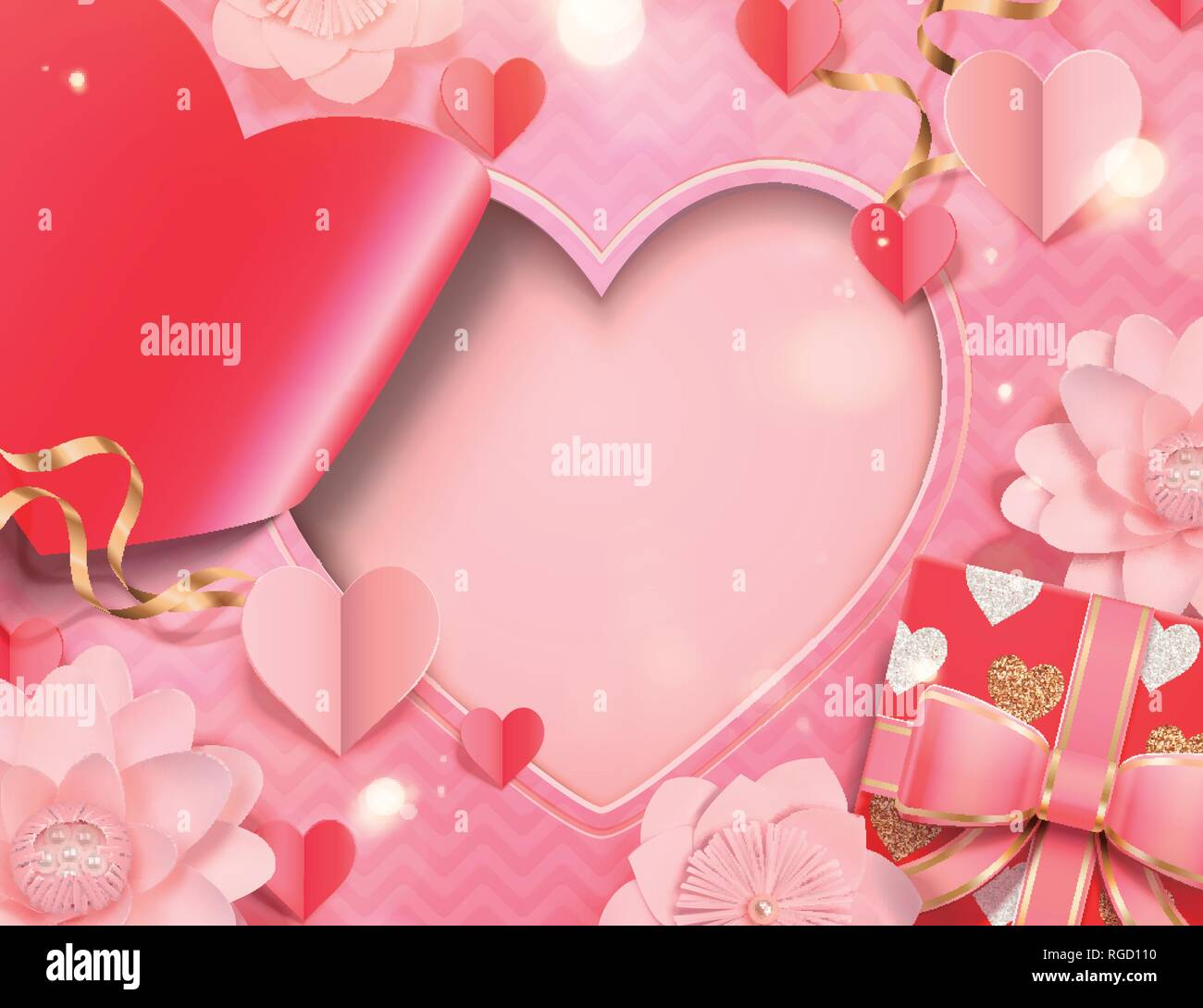 Valentine's day card template with paper heart shape and