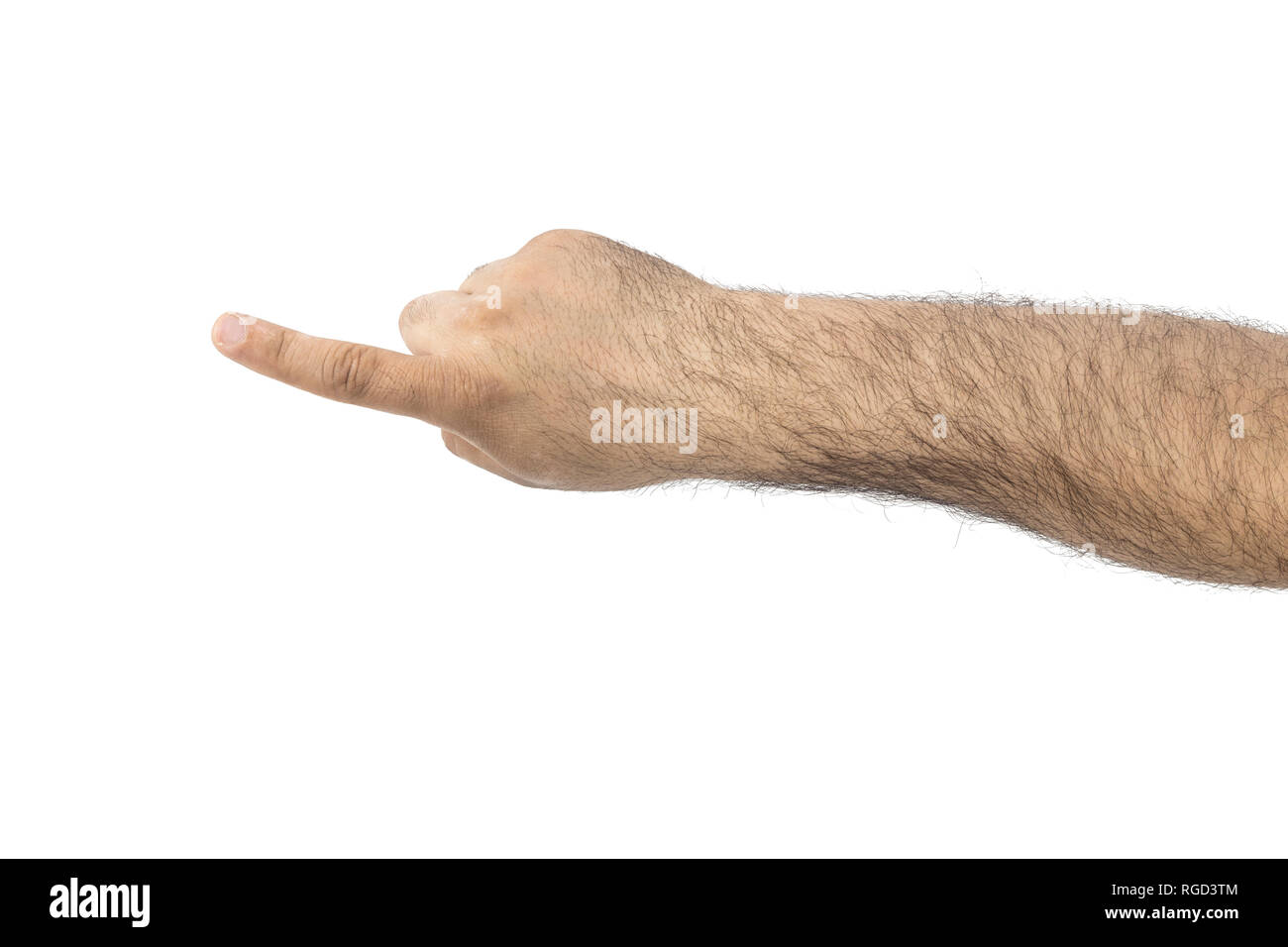 Man's hand touching or pointing to something isolated on white - Stock Image