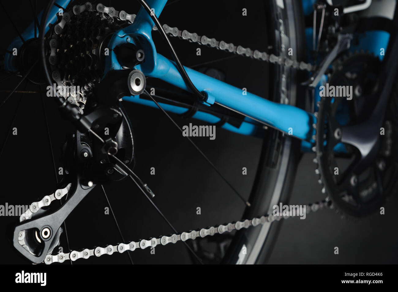 Detail of bicycle components. Close up cassette, chain and rear derailleur. Studio photo - Stock Image