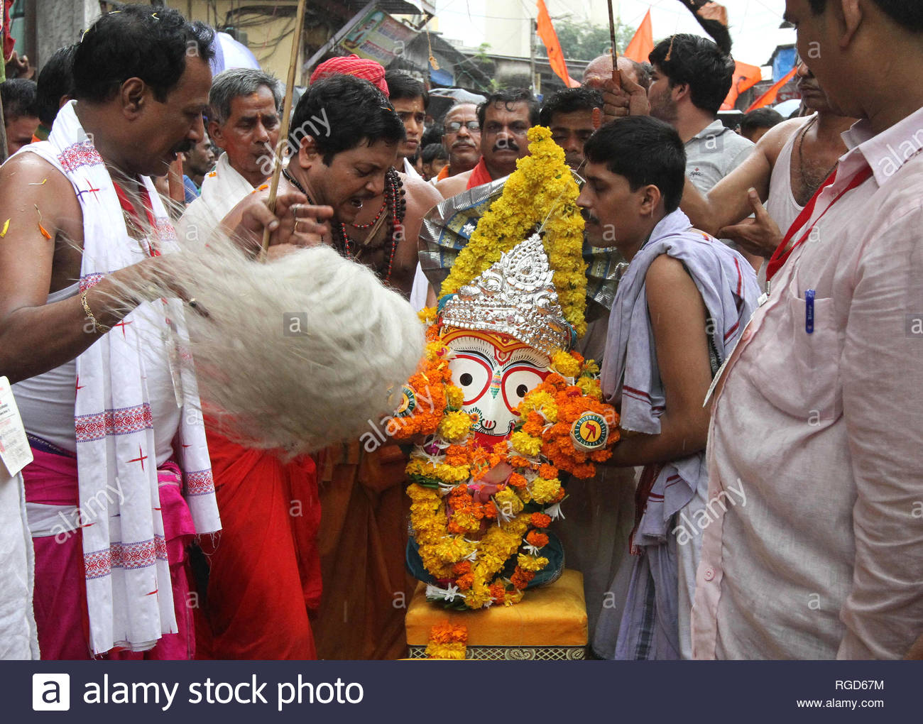 Priests perform puja of Lord Jagannath before the Rath Yatra