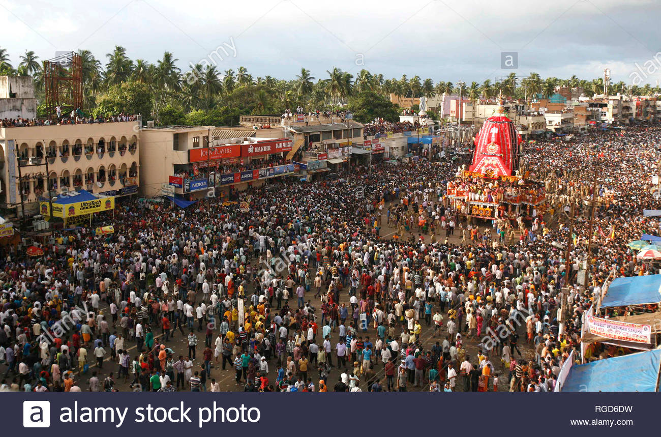 Devotees pull the chariot of Hindu god Jagannath during the
