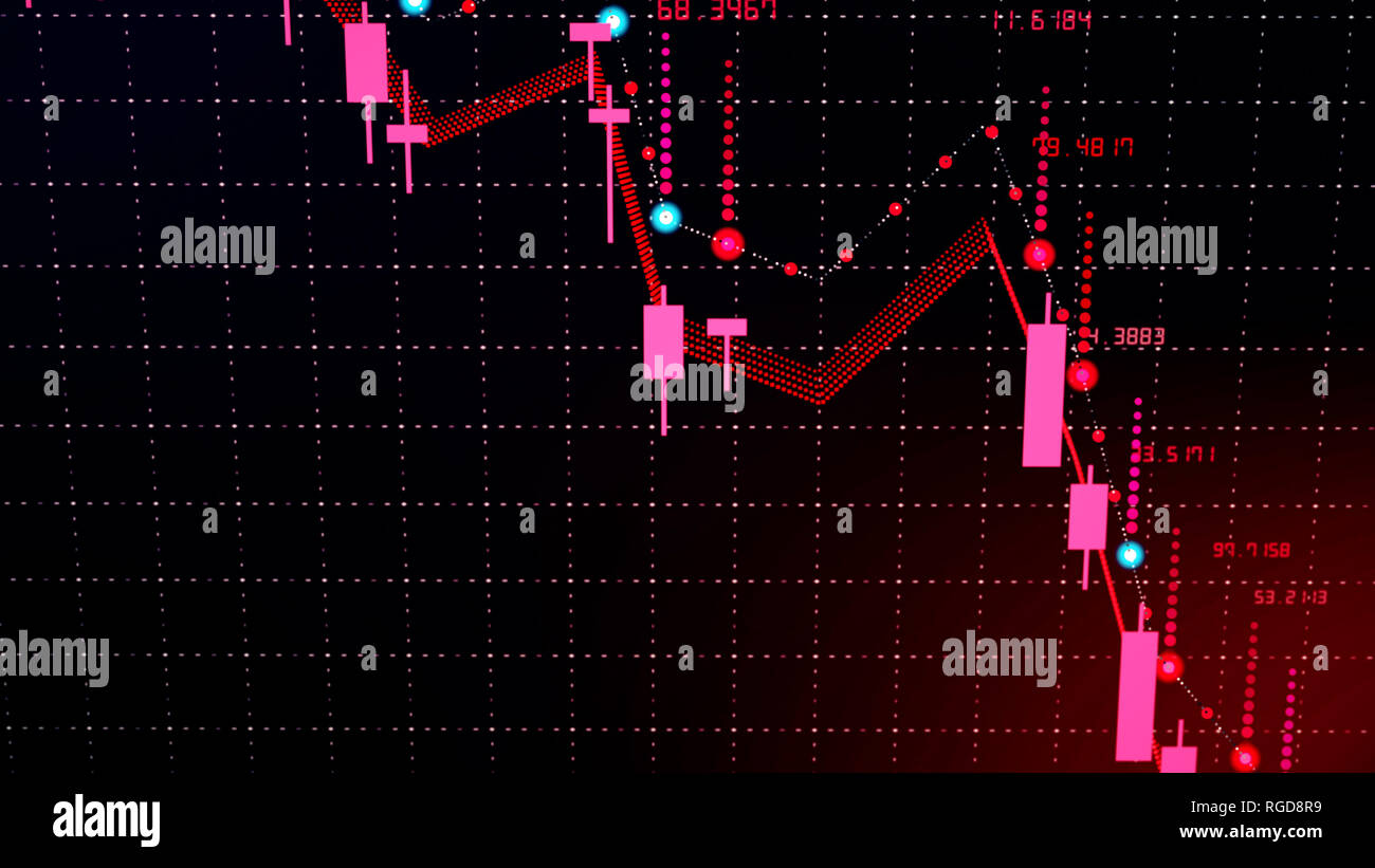 Futuristic digital business forex currency candle chart fall. 3D illustration of financial diagram falls on bearish market, showing recession Stock Photo