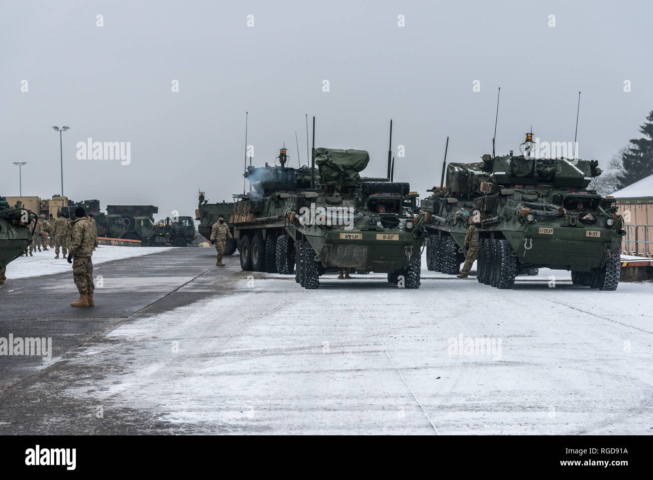 Soldiers Assigned To First Squadron Second Cavalry Regiment From Vilseck Germany Are Maintaining Their Vehicles At The Baumholder Military Training Area Motor Pool Camp Aulenbach Baumholder Germany Onjanuary 25 2019 On
