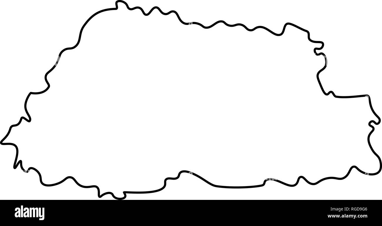 Map of Bhutan - outline. Silhouette of Bhutan map vector illustration - Stock Vector