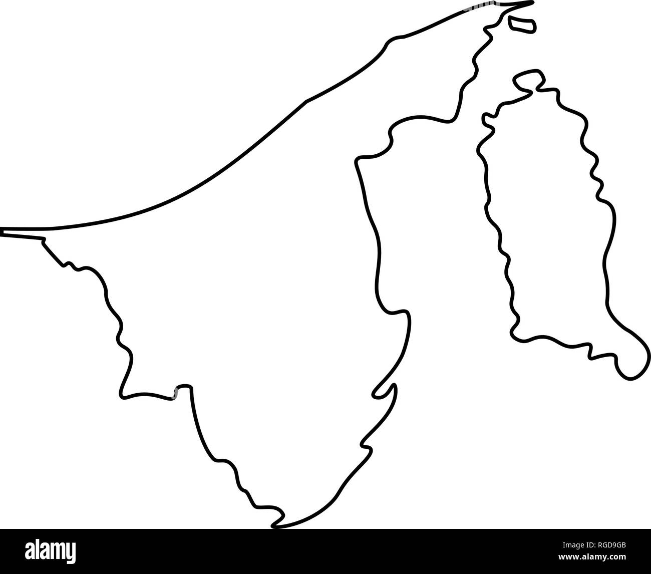 Map of Brunei - outline. Silhouette of Brunei map vector illustration - Stock Image