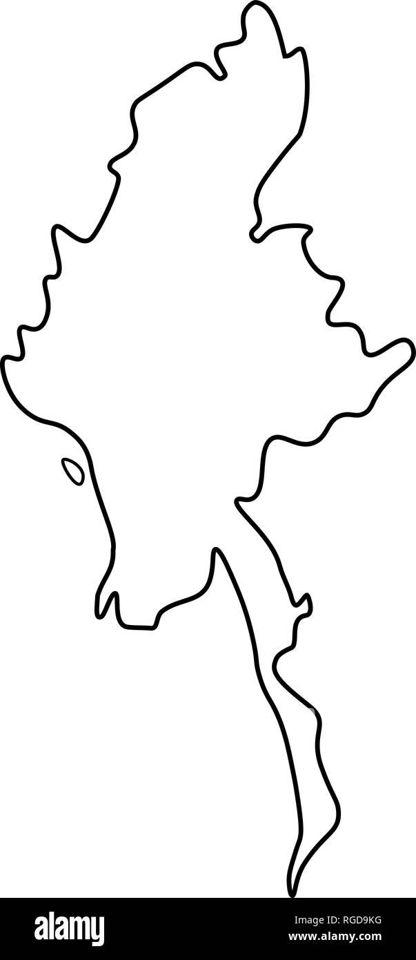 Map of Myanmar - outline. Silhouette of Myanmar map vector illustration - Stock Vector