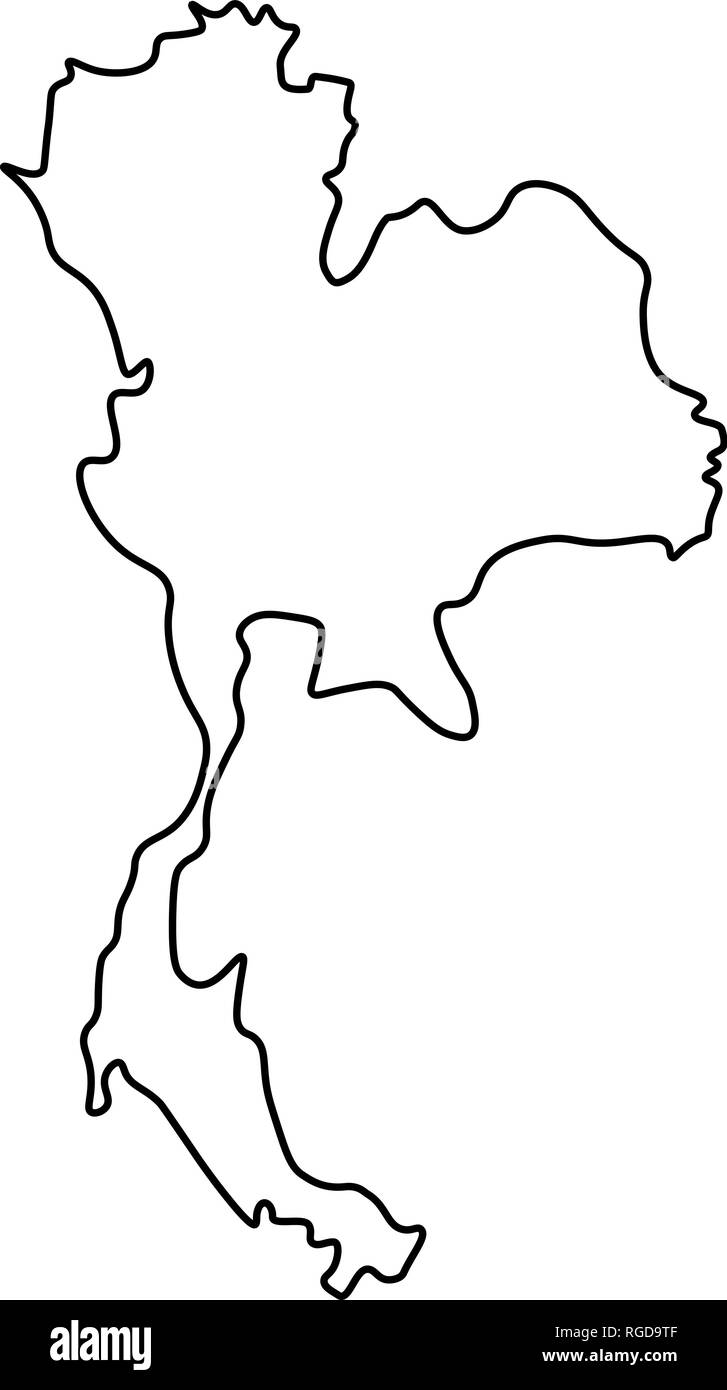 thailand map black and white stock photos images alamy Similan Islands Thailand map of thailand outline silhouette of thailand map vector illustration stock image