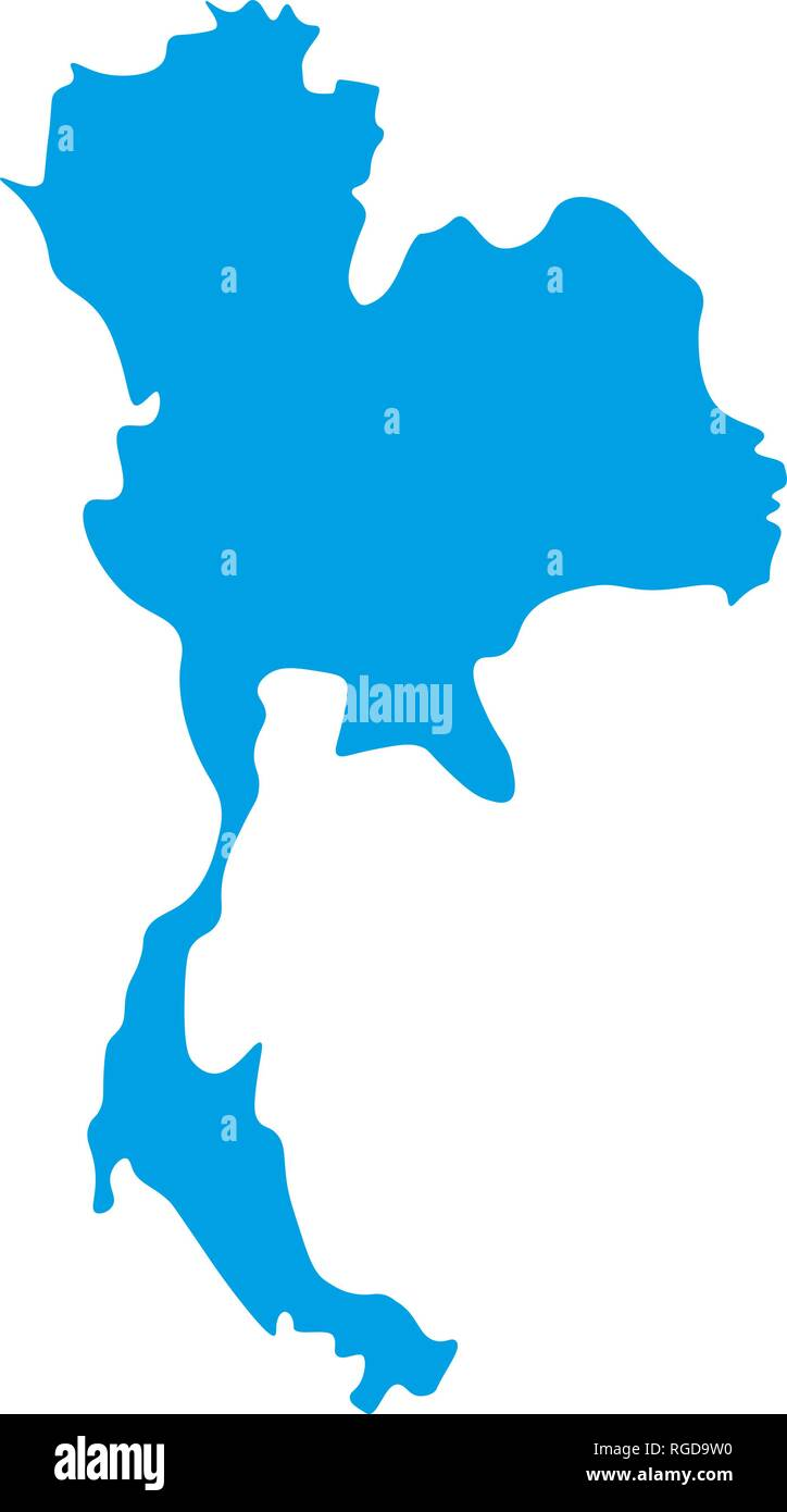 Map of Thailand - outline. Silhouette of Thailand map vector ...