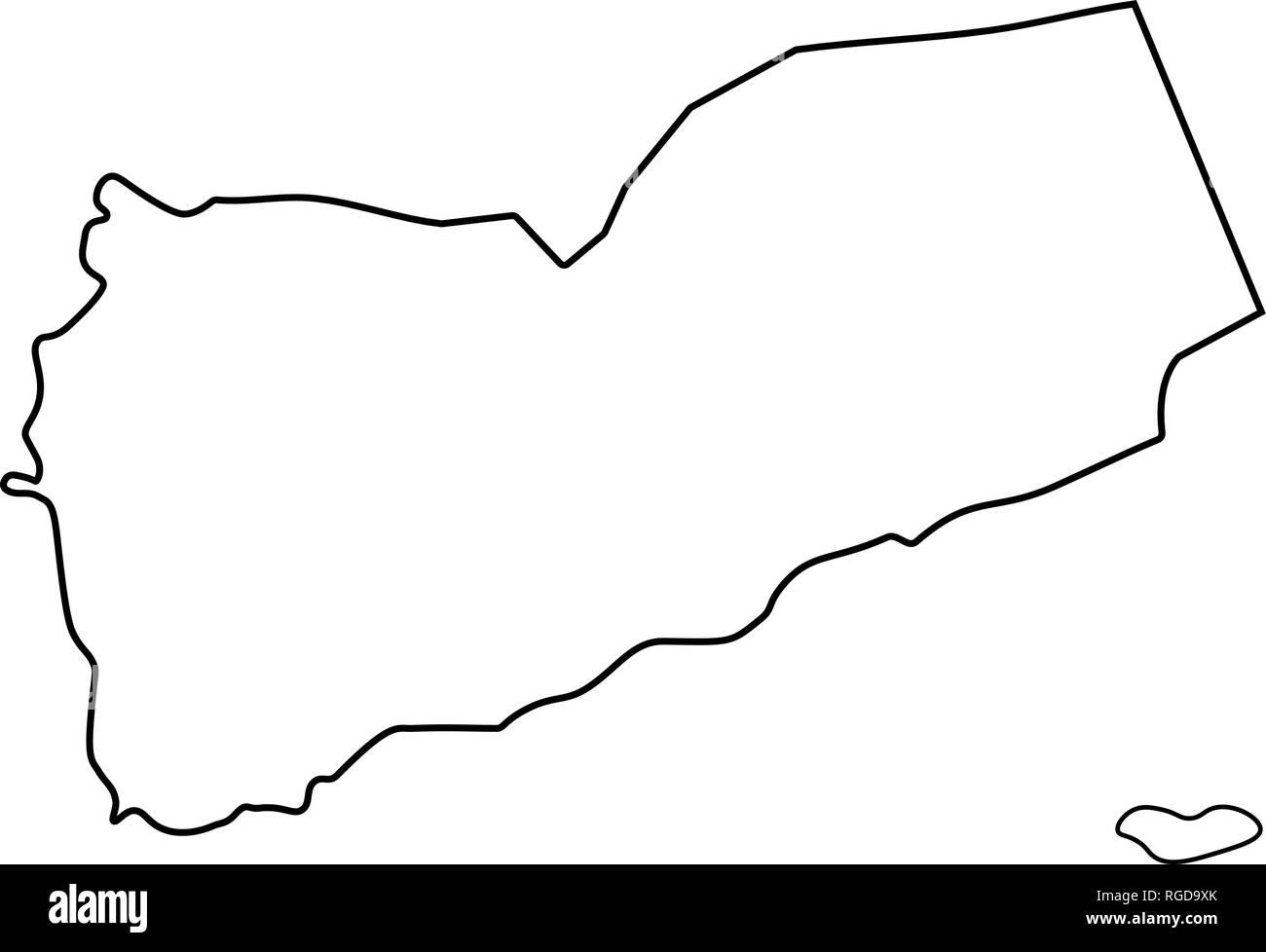 Map of Yemen - outline. Silhouette of Yemen map vector illustration - Stock Image