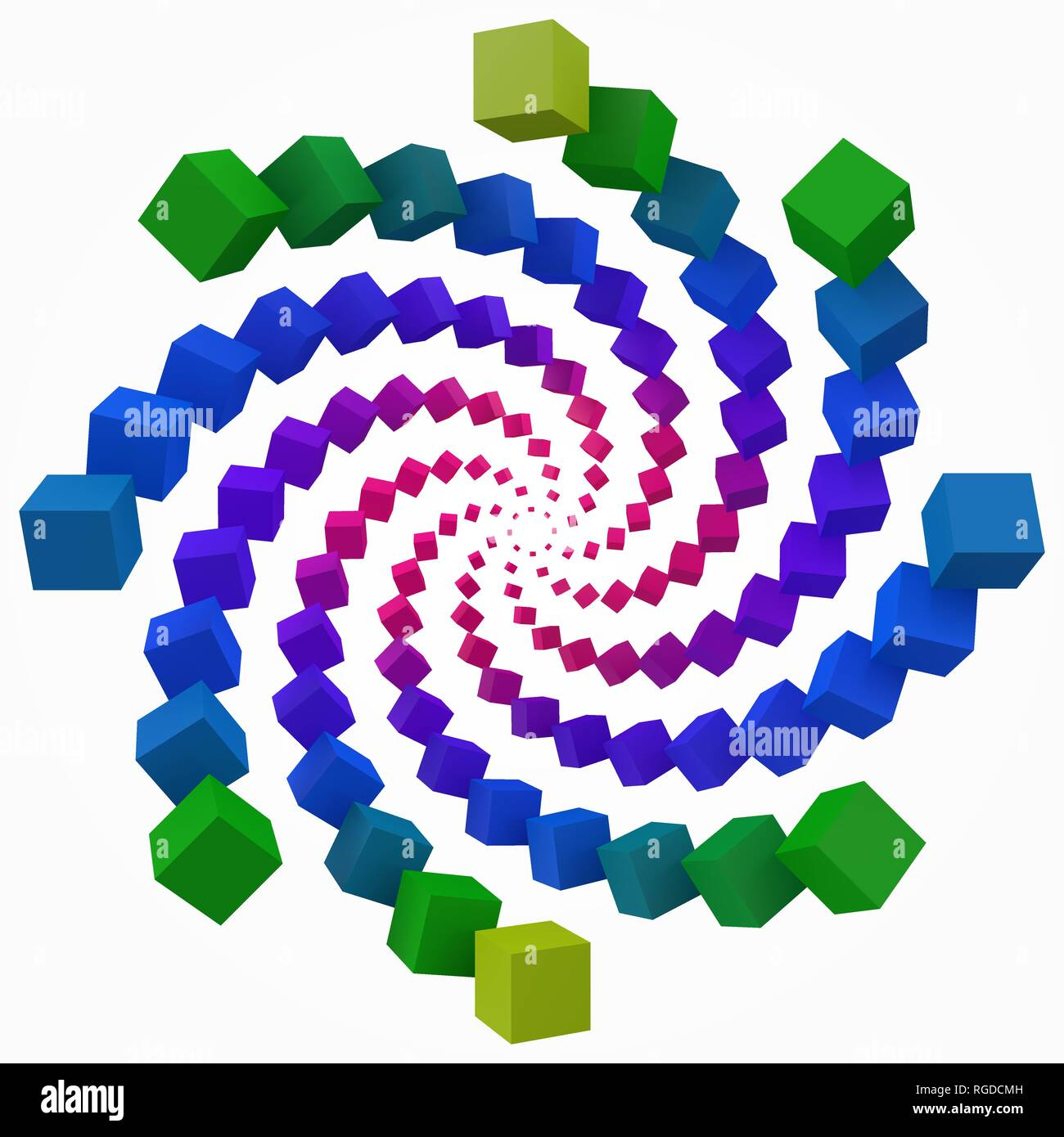 colorful cubes swirl. 3d pixel style vector illustration. - Stock Image