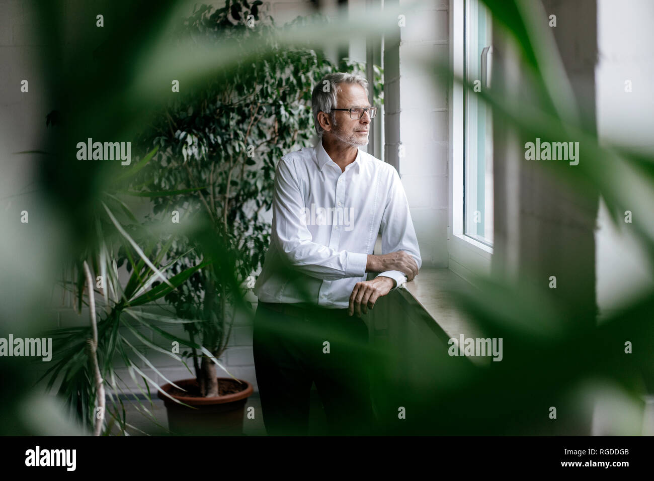 Businessman taking a break, looking out of window - Stock Image