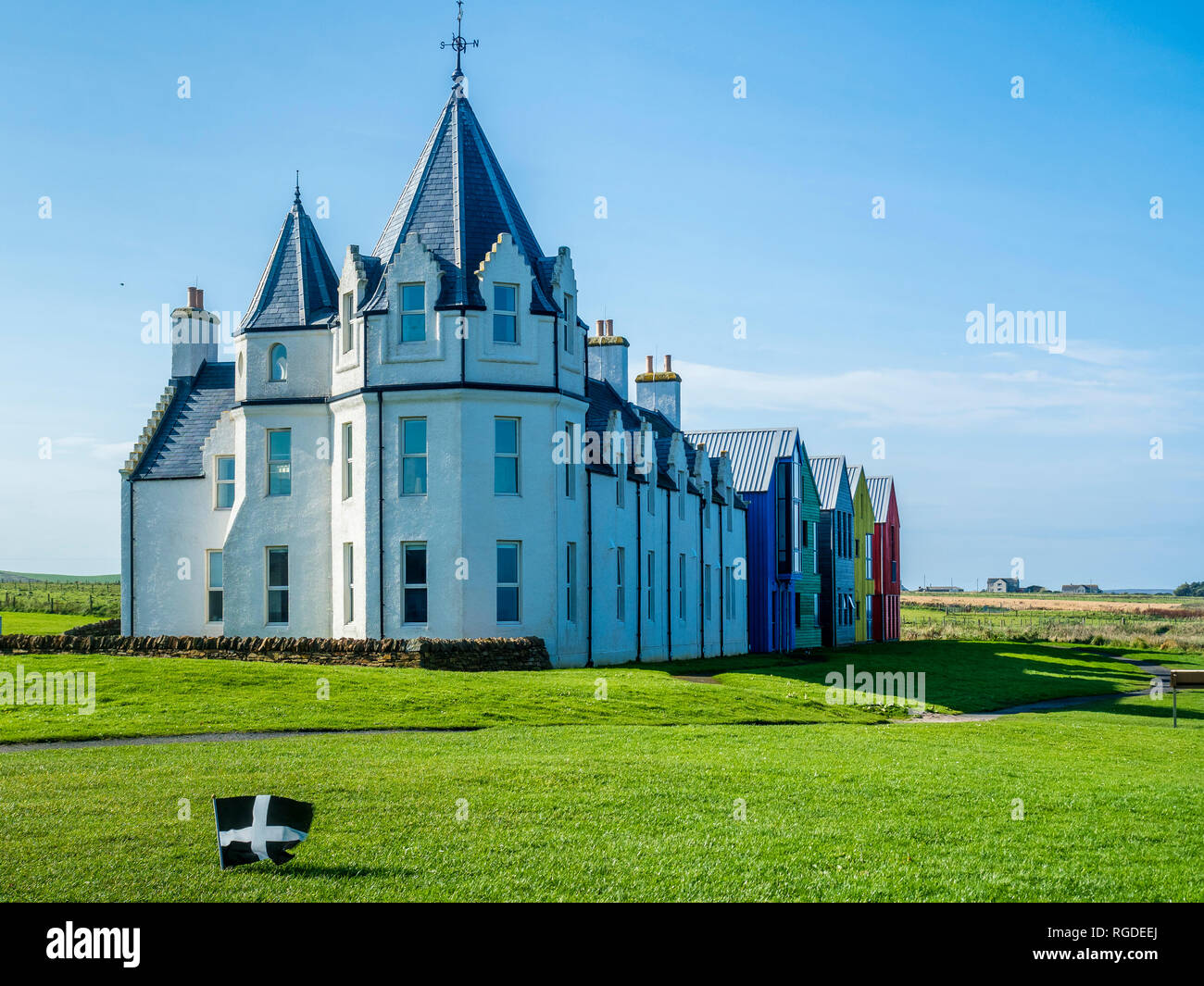 UK, Scotland, Highland, Caithness, John O'Groats, row of houses - Stock Image
