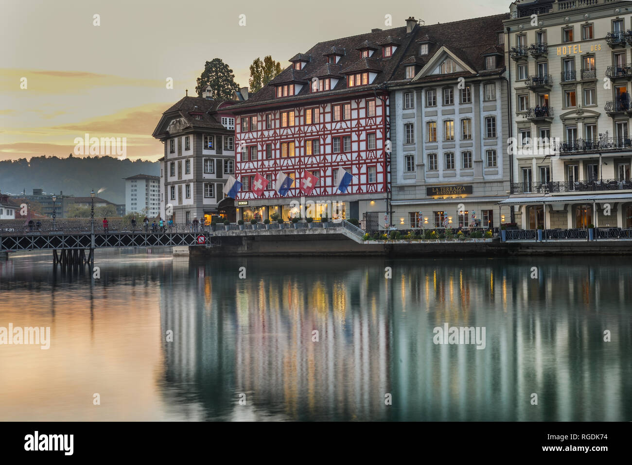 Sunset In Lucerne Stock Photos Sunset In Lucerne Stock