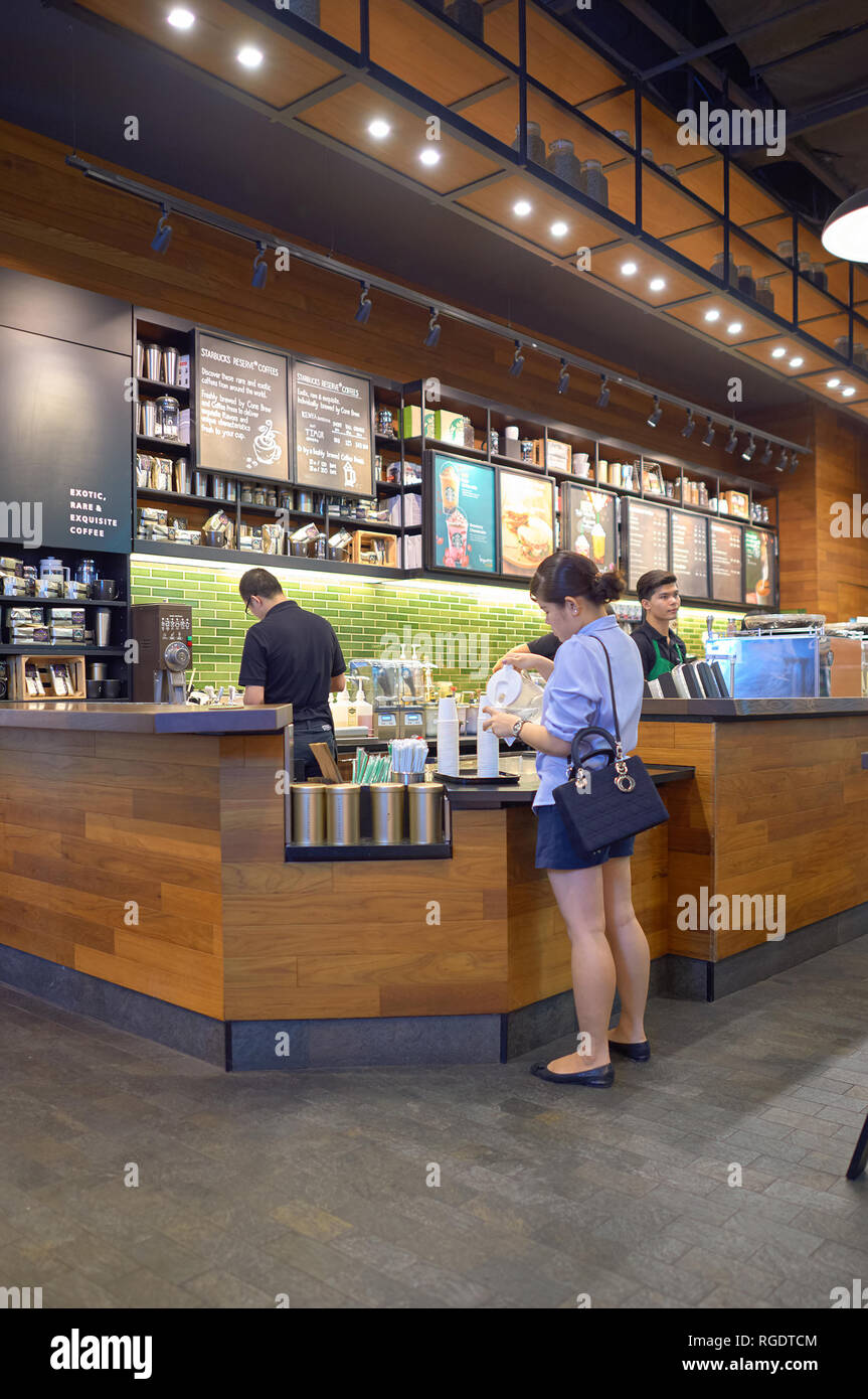 BANGKOK, THAILAND - JUNE 21, 2015: inside Starbucks coffee house