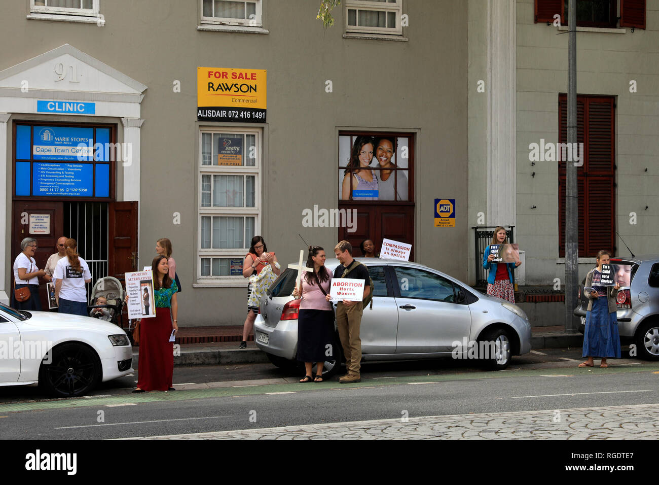 Anti-abortion protest in Bree Street, Cape Town, South Africa. - Stock Image