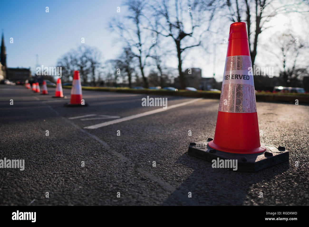 Orange Reserved Parking Traffic Cone - Stock Image