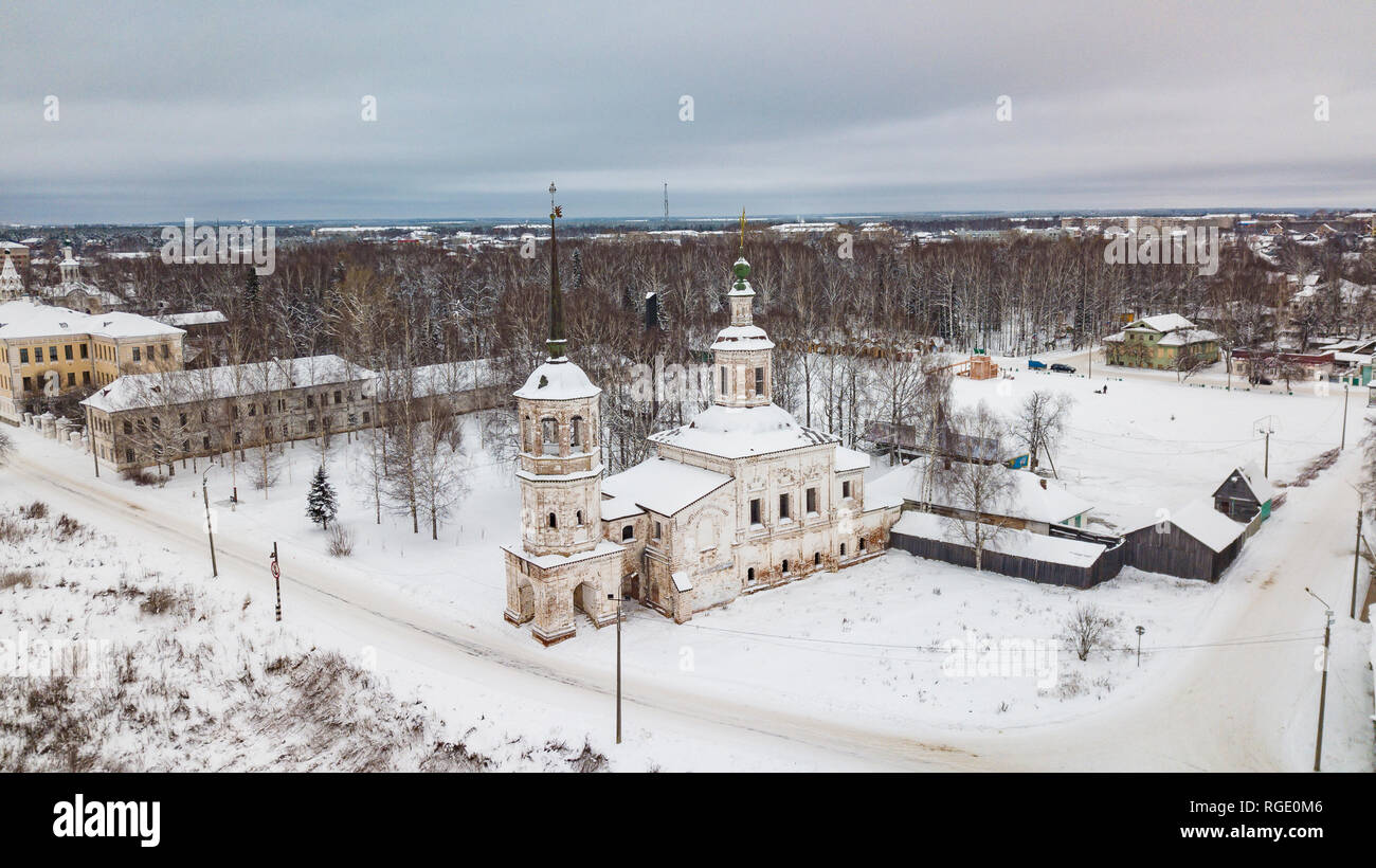 Aerial monasteries and churches in Veliky Ustyug is a town in Vologda Oblast, Russia - Stock Image