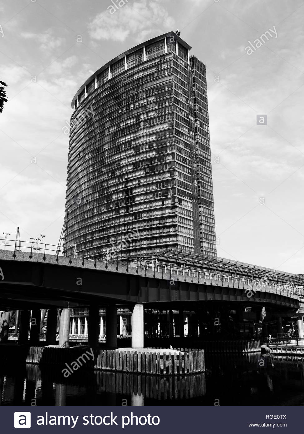 Black and white London Marriott Hotel, West India Quay, Docklands, London, UK - Stock Image