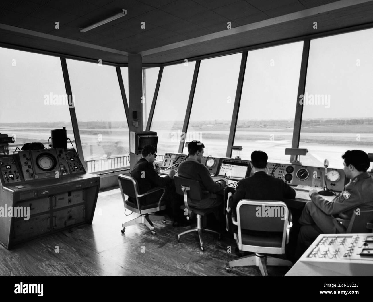 internal of control tower in milan linate, 1950-60 - Stock Image