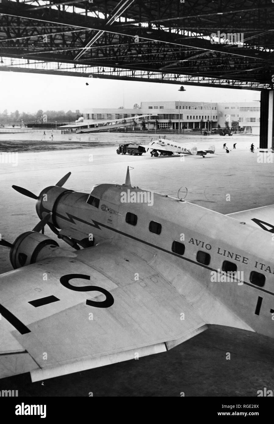 Italy, Milan, aircraft shed, linate, 1950-60 - Stock Image
