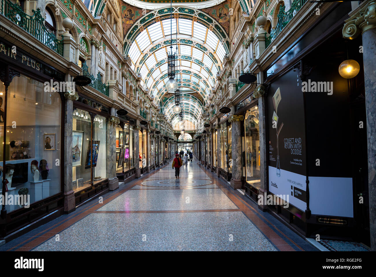 County Arcade shopping mall in the Victorian quarter of Leeds City centre is home to a variety of high end and designer shops - Stock Image