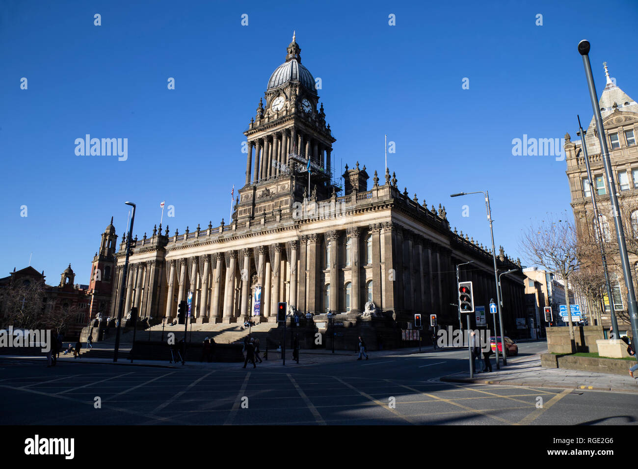 Leeds Town Hall on the Headrow in Leeds City Centre completed in 1858 and one of the largest town halls in the U.K. - Stock Image