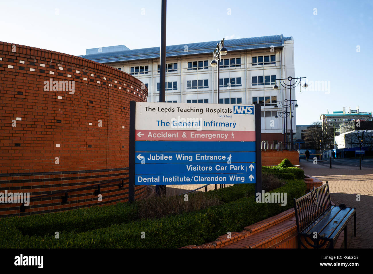 Sign outside the Leeds General Infirmary teaching hospital adjacent to the Jubilee wing in Leeds, West Yorkshire U.K. - Stock Image