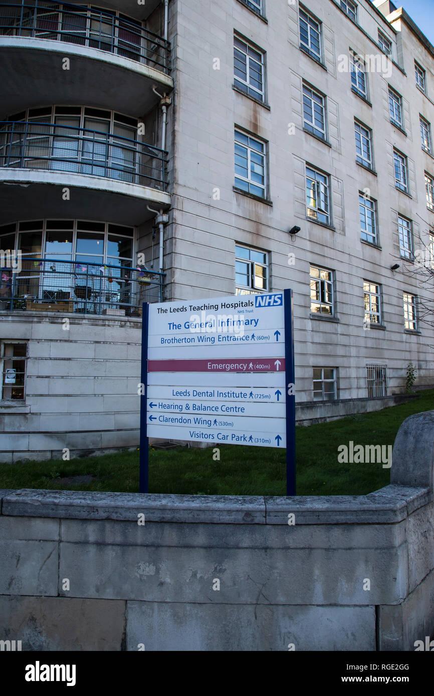 Sign outside the Leeds General Infirmary teaching hospital on Calverley Street in Leeds, West Yorkshire U.K. - Stock Image