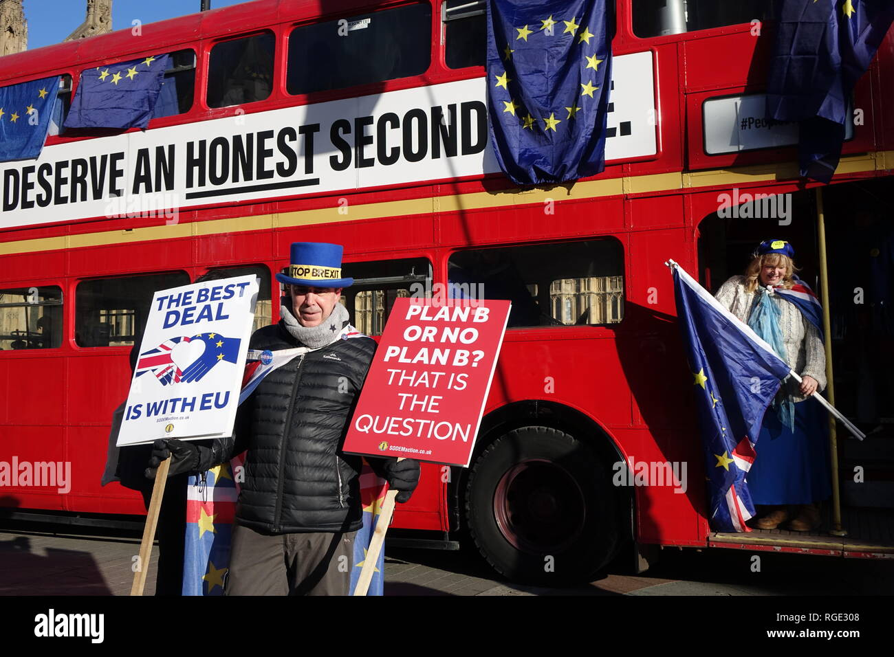 Brexit Protest. Anti-Brexit demonstrator Stephen Bray (Mr Stop Brexit) protests opposite  Palace of Westminster. 28th of January 2019, London. Stock Photo