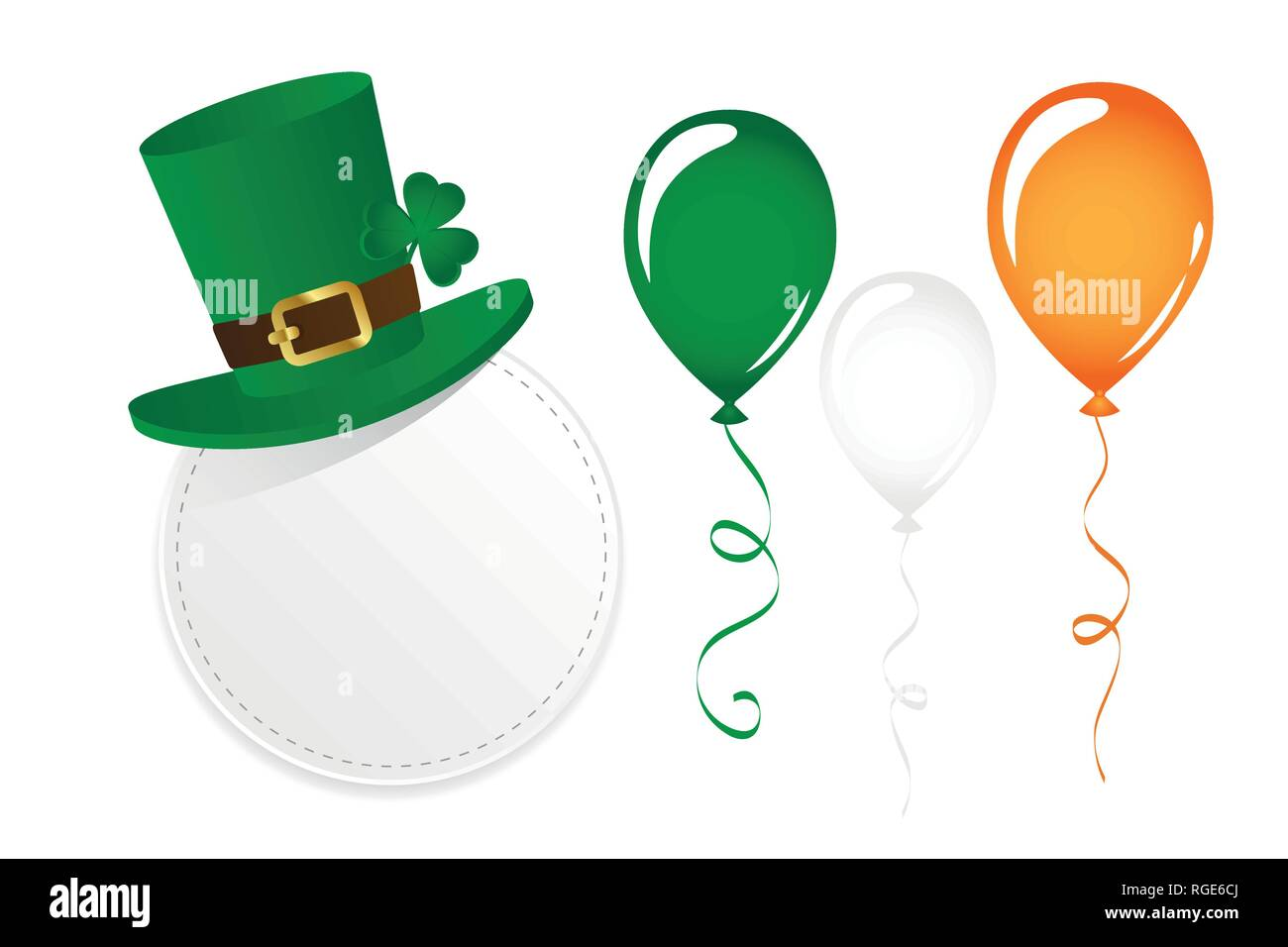 St. Patricks Day set with round label hat clover and balloons vector illustration EPS10 - Stock Image