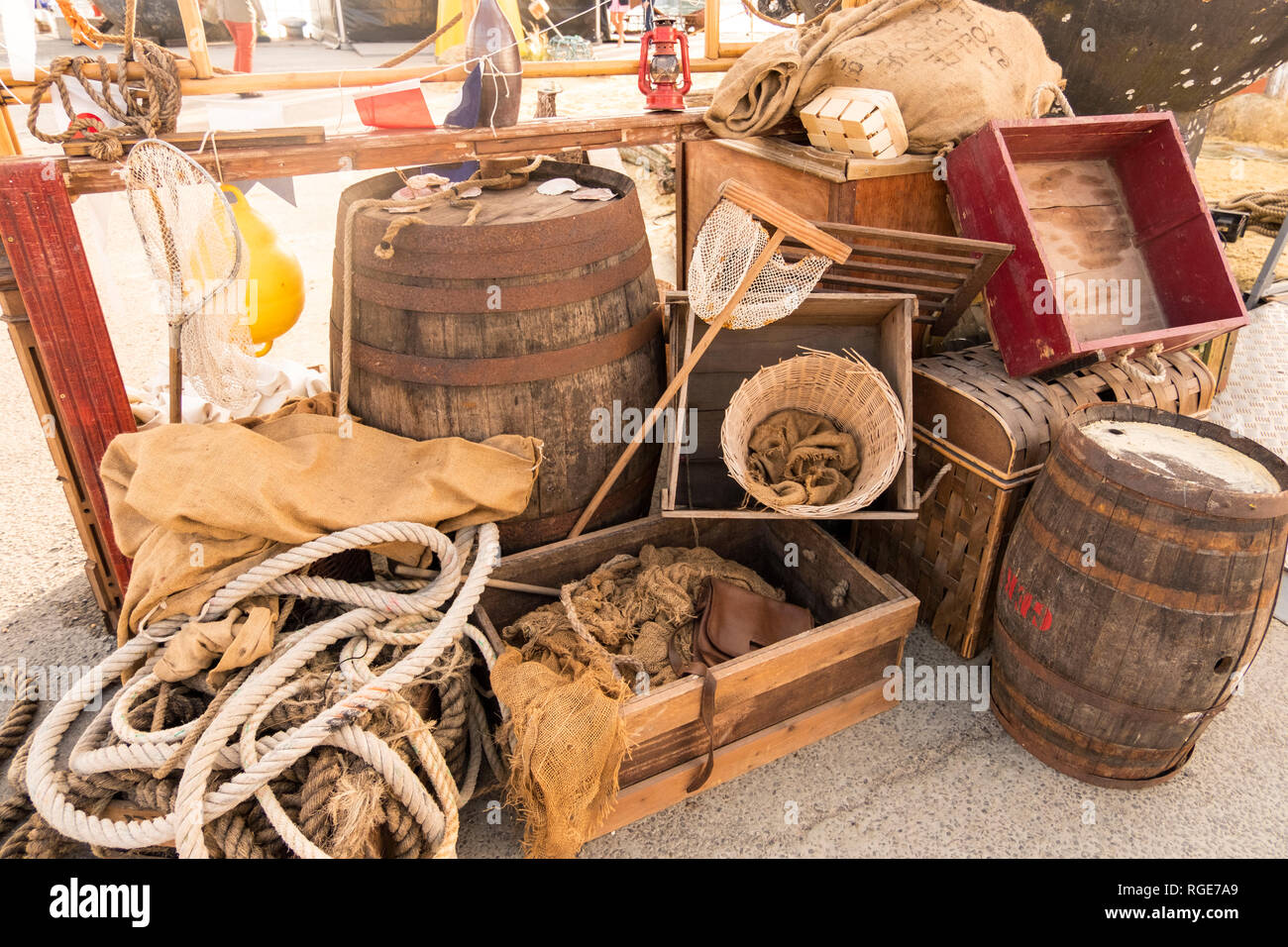 A Vintage Group with marine life style objects and of Old Nautical Boat Equipment exhibited in port of Granville, Normandy, France - Stock Image