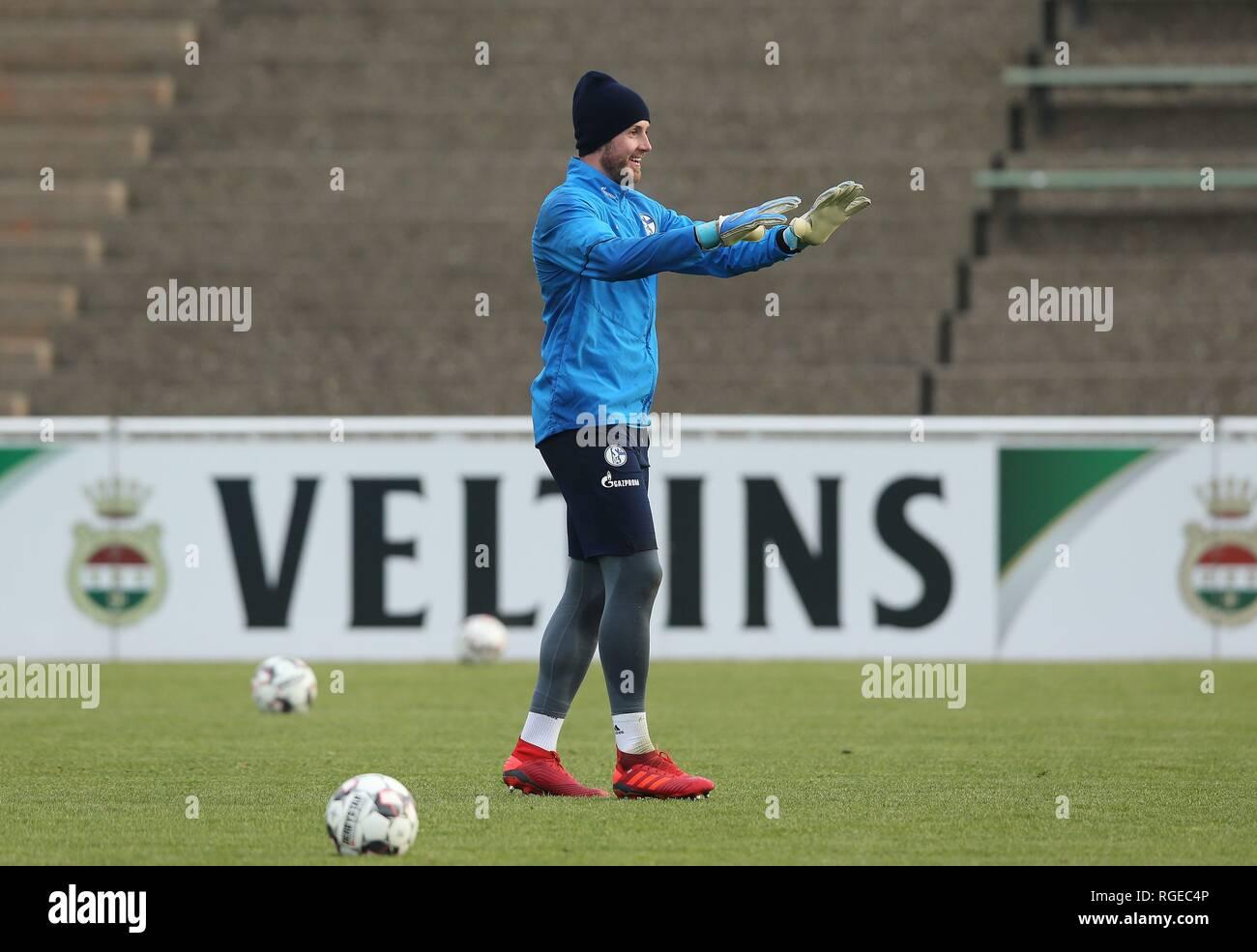firo: 29.01.2019, football, 1.Bundesliga, season 2018/2019, FC Schalke 04, training, goalkeeper Ralf FAHRMANN, laughs   usage worldwide - Stock Image