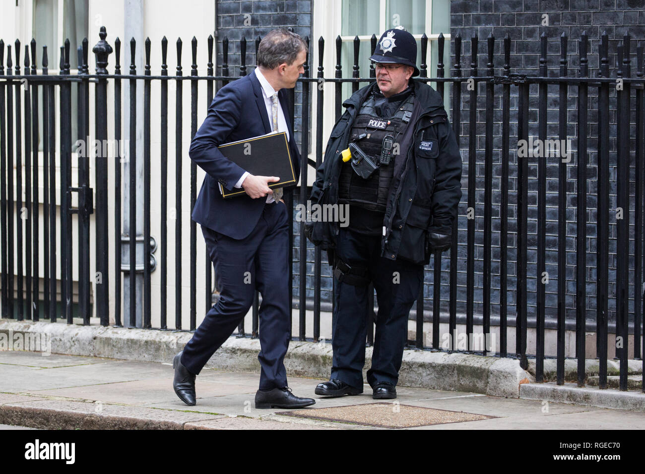 London, UK. 29th Jan, 2019. Julian Smith MP, Chief Whip, leaves 10 Downing Street following a Cabinet meeting on the day of votes in the House of Commons on amendments to Prime Minister Theresa May's final Brexit withdrawal agreement which could determine the content of the next stage of negotiations with the European Union. Credit: Mark Kerrison/Alamy Live News Stock Photo