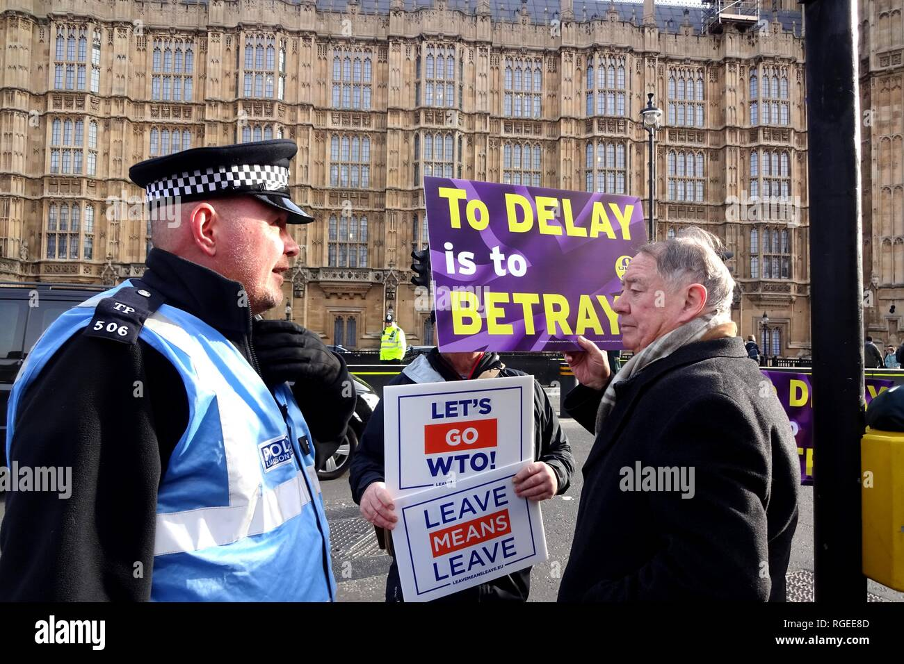 """London, UK. 29th Jan, 2019. """"Leave Means Leave"""" supporters congregate outside Parliament ahead of Brexit vote. Credit: Brian Minkoff/Alamy Live News Stock Photo"""