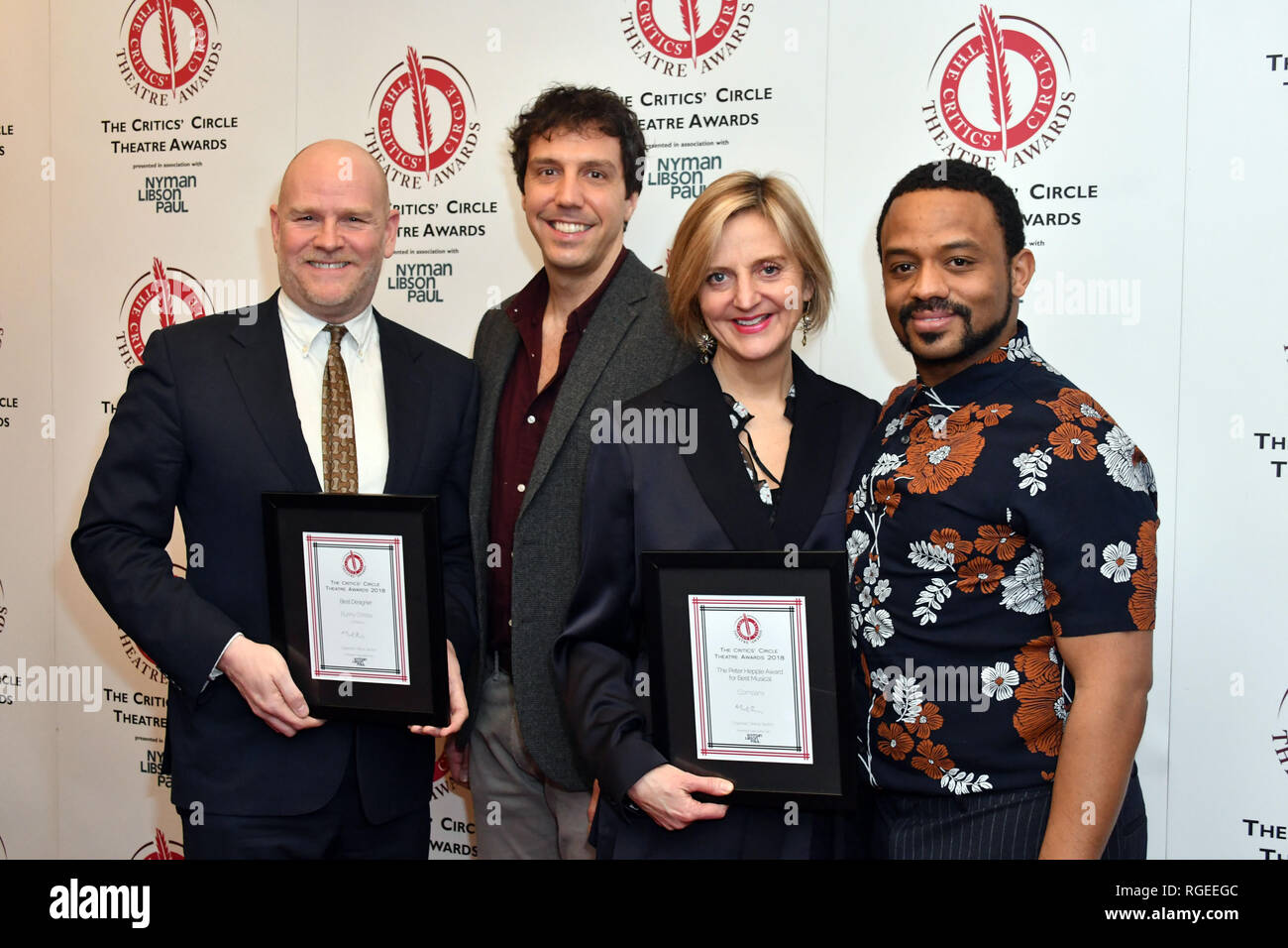 London, UK. 29th Jan 2019. Chris Harper, Alex Gaumond, Marianne Elliott, Ashley Campbell  at The Critics' Circle Theatre Awards annual ceremony which celebrates the achievements of 2018's theatre productions, at Prince of Wales Theatre Credit: Nils Jorgensen/Alamy Live News - Stock Image