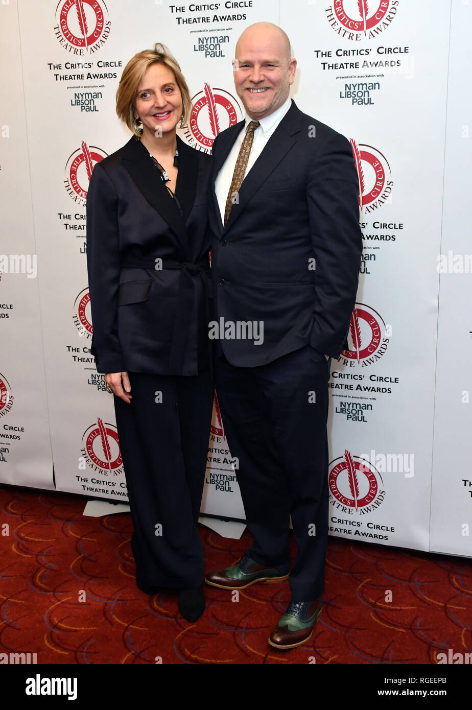London, UK. 29th Jan 2019. Marianne Elliott, Chris Harper at The Critics' Circle Theatre Awards annual ceremony which celebrates the achievements of 2018's theatre productions, at Prince of Wales Theatre Credit: Nils Jorgensen/Alamy Live News - Stock Image
