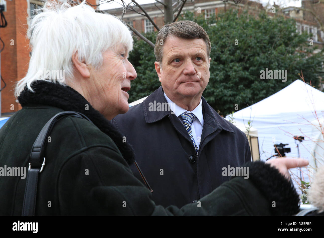 Westminster, London, UK, 29th Jan 2019. UK Leader Gerard Batten with supporters. Activists from both the pro Brexit and Remain campaigns protest in Westminster around the Houses of Parliament and College Green today, as Parliament is due to take decisions on amendments and vote on the Brexit deal once again. A heavier than usual police presence is noticeable and aggressions flare up throughout the day. Credit: Imageplotter News and Sports/Alamy Live News Stock Photo