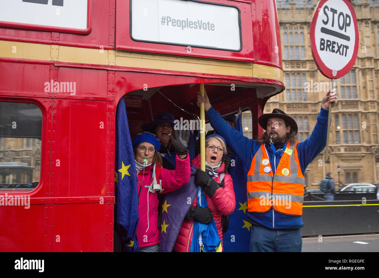 London UK 29th Jan 2019 Pro-EU protesters demonstrate on a bus near the Houses of Parliament on the day MPs vote on EU withdrawal deal amendments. Credit: Thabo Jaiyesimi/Alamy Live News Stock Photo