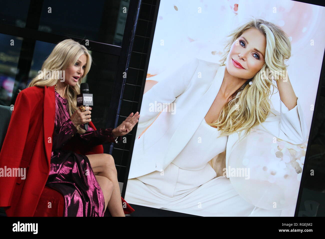 """New York, USA. 29 Jan, 2019. Christie Brinkley at The Tuesday, Jan 29, 2019 BUILD Series Inside Candids discussing """"Milestones of Me"""" Campaign at BUILD Studio in New York, USA. Credit: Steve Mack/S.D. Mack Pictures/Alamy Live News Stock Photo"""