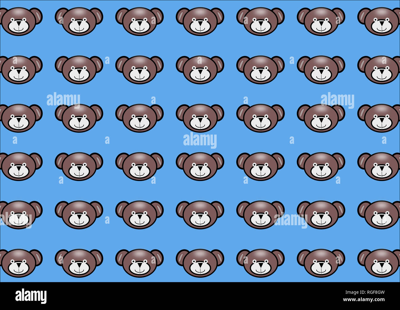 Teddy Bear Icons Blue Background Cartoon Style Pattern For