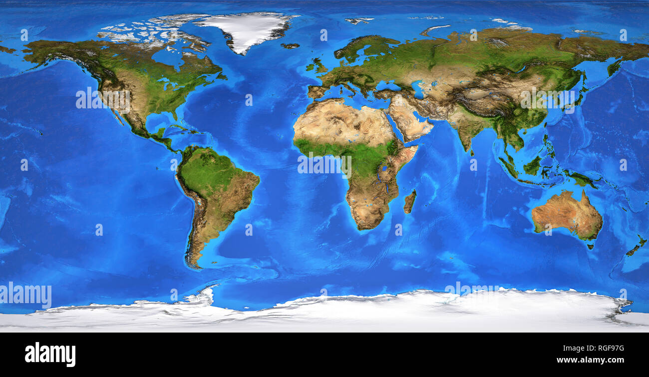 Detailed flat view of the Planet Earth and its landforms. Flattened global world map. Planisphere in summer season. 3D illustration - Elements of this - Stock Image