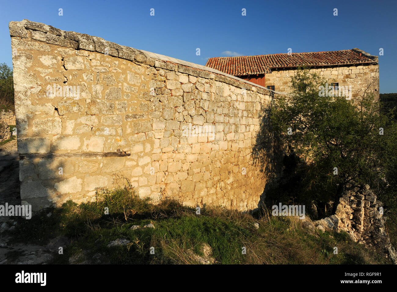 Great Kenassa from XIV century and Small Kenassa from XVIII century in medieval city-fortress Çufut Qale (Jewish Fortress) in the Crimean Mountain in  Stock Photo