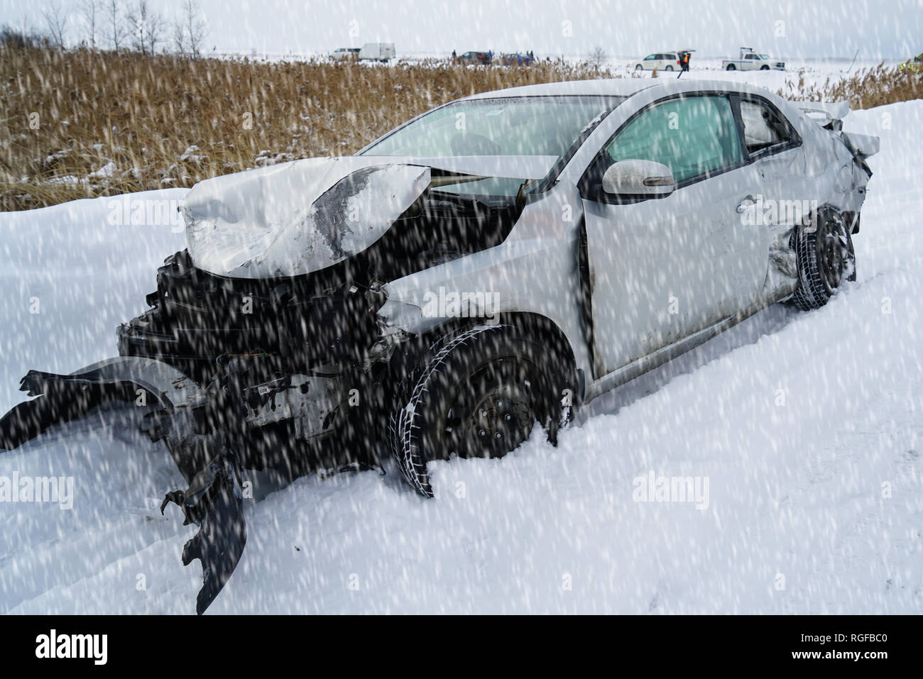 quebec,canada,27january,2019.damaged car on highway due to hazardous