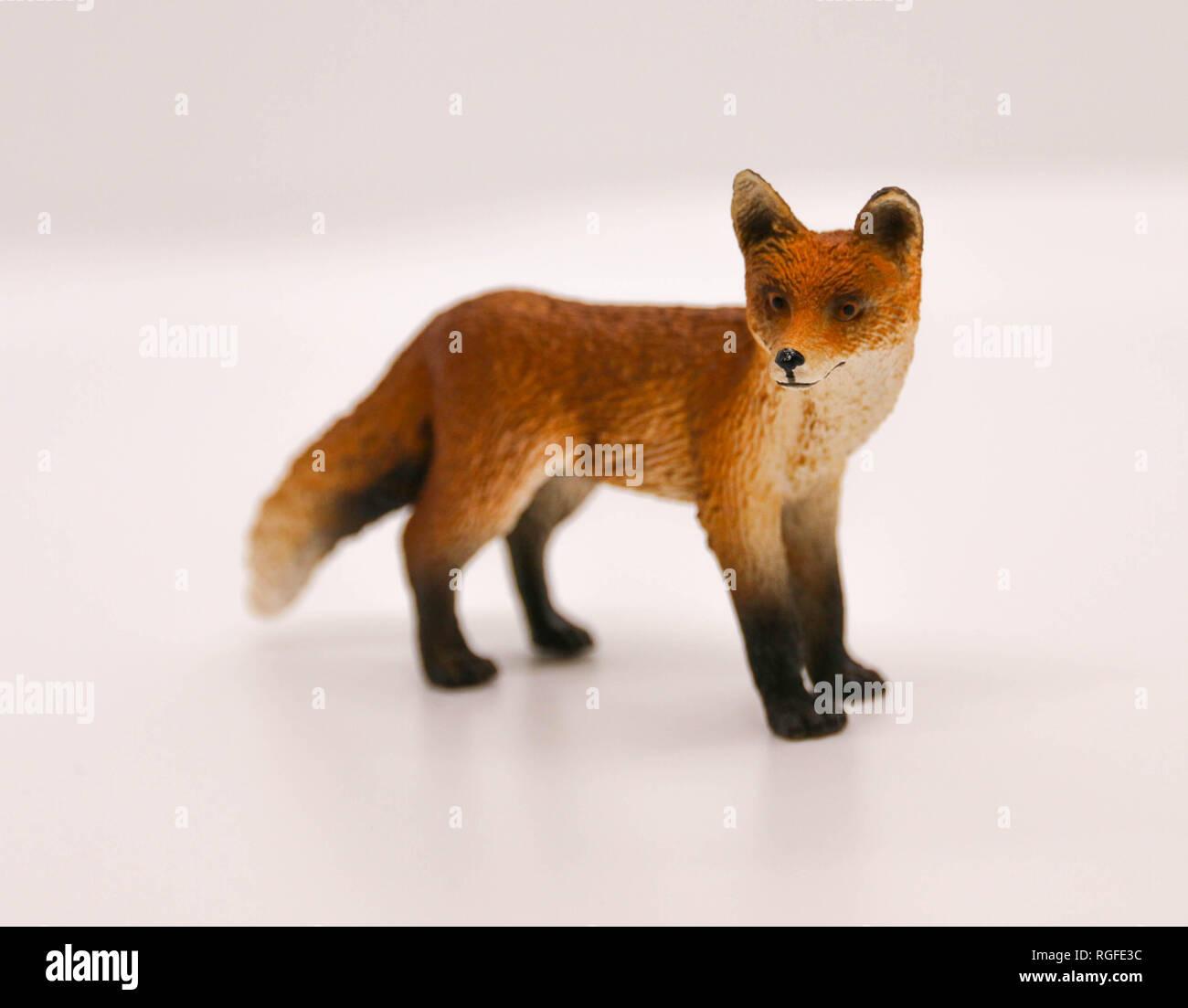 Fox lifelike sculpture figure - Stock Image