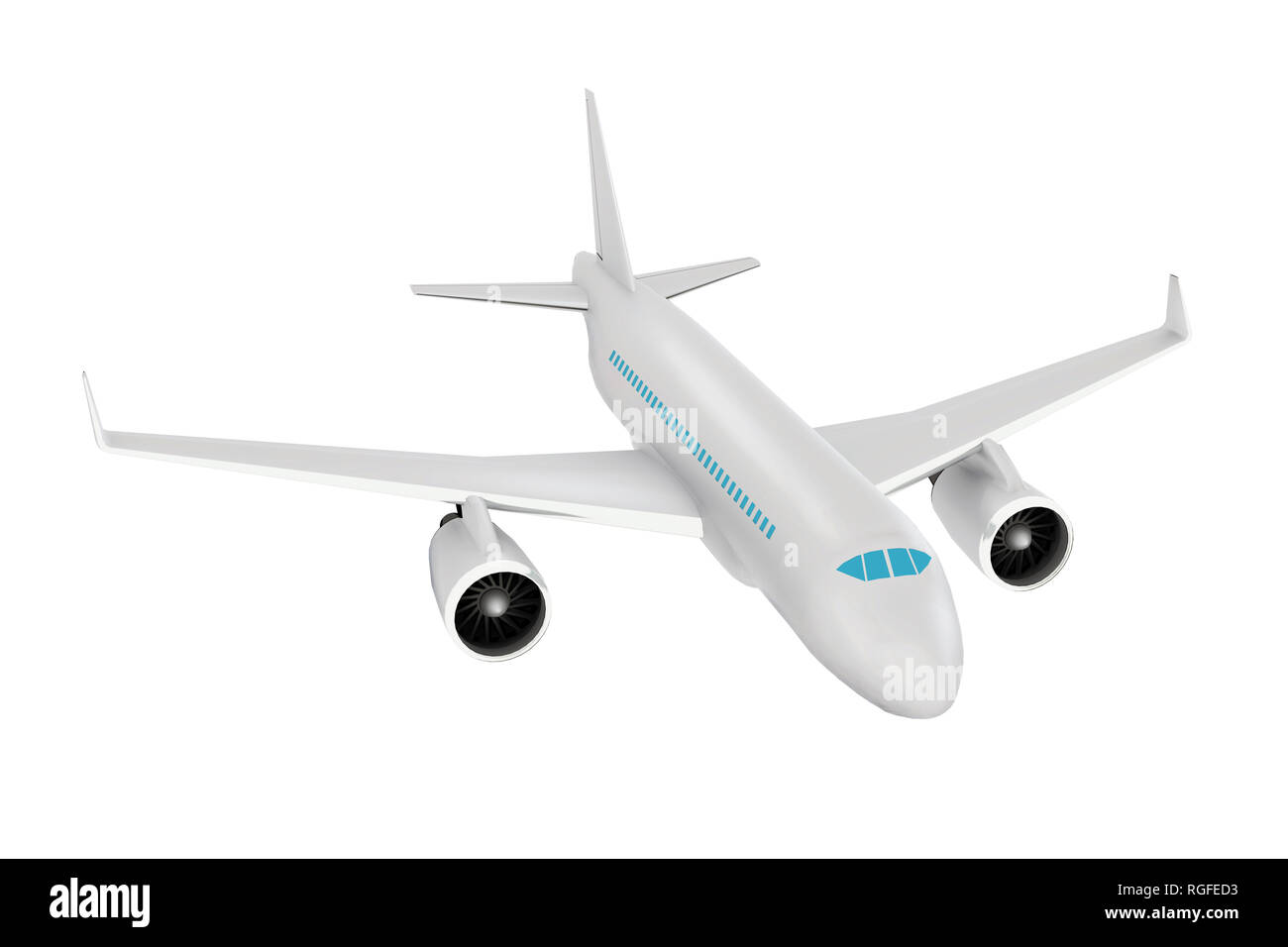 Passenger aircraft. Realistic 3d rendered model, isolated high angle view - Stock Image