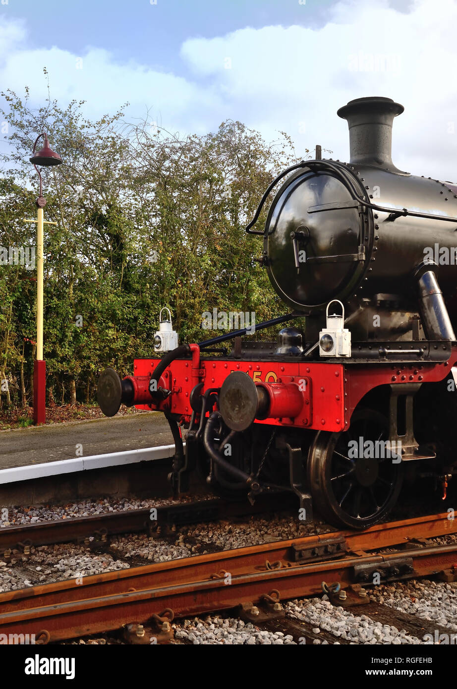 The front of GWR tank No 5521, seen here as No L150, waiting to leave Avon Riverside station, with headlamps indicating an express train. - Stock Image