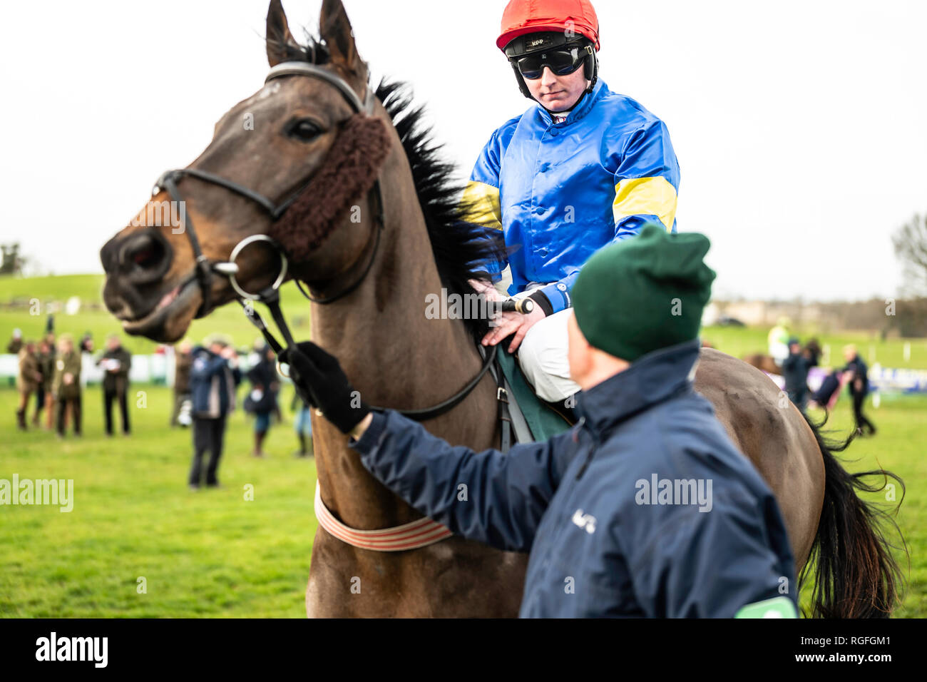 Friars Haugh, Kelso, Scottish Borders, UK. 27th January 2019. The Jedforest point to point race meeting is the first of the season in Scotland. To com Stock Photo