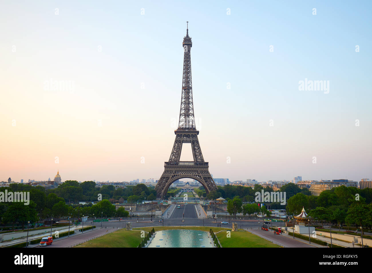 Eiffel tower, clear summer morning from Trocadero in Paris, France - Stock Image